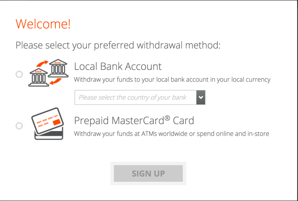 payoneer choose method