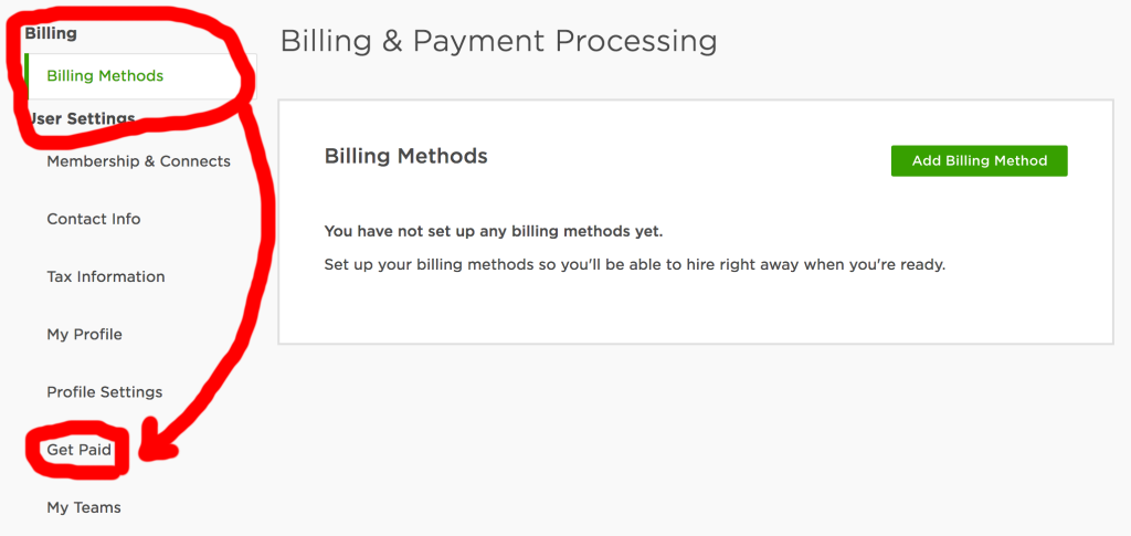 Upwork Billing Methods