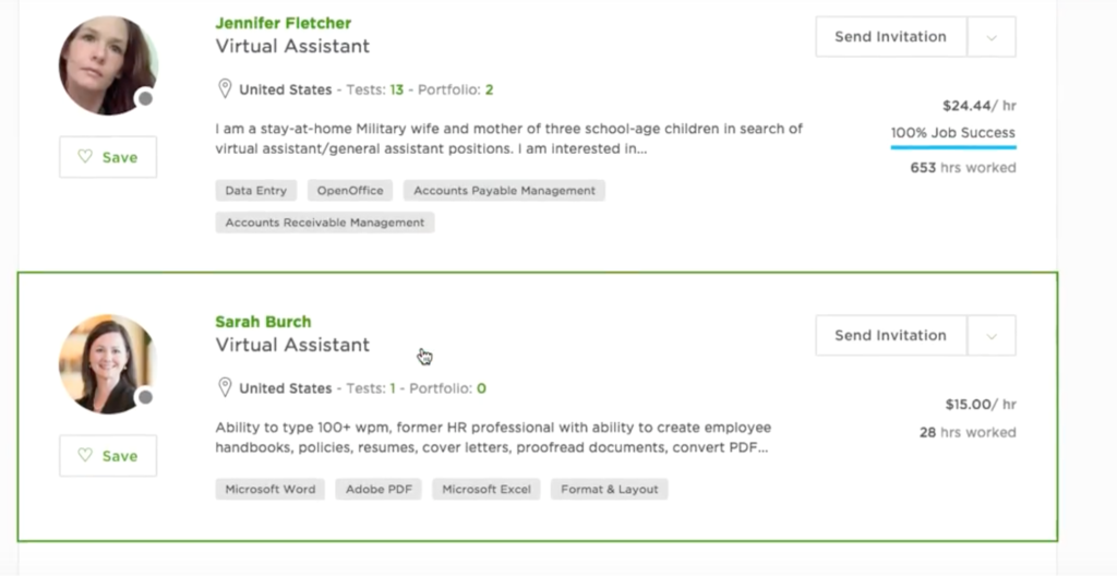 upwork choose freelancer from list