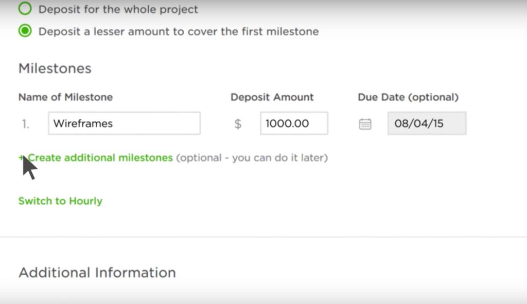 Создания Milestone для проекта на Upwork