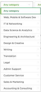 upwork filter category