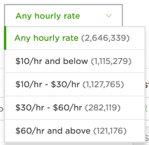 upwork filter hourly rate
