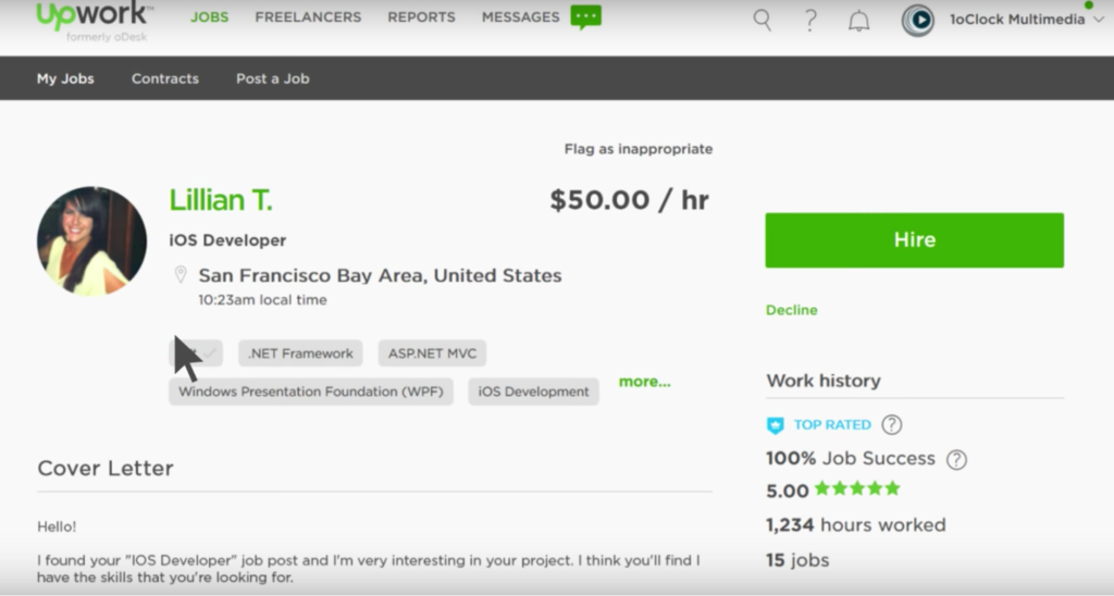 upwork hire choose
