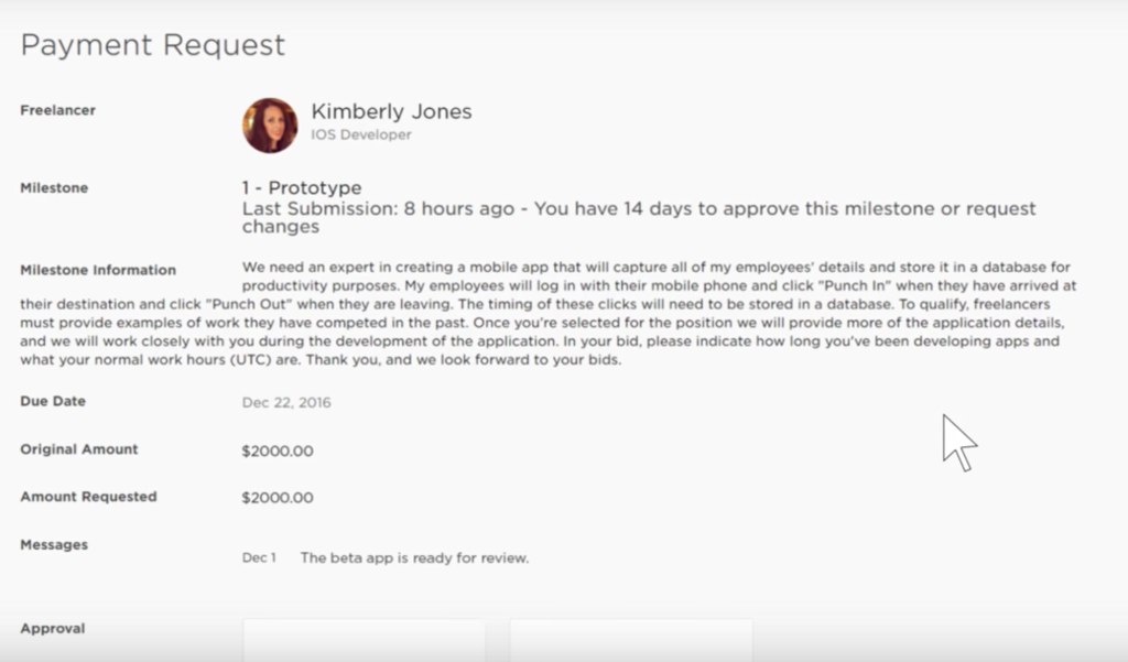 upwork payment request
