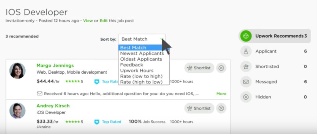 upwork sort freelancers