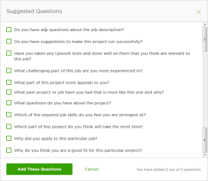 upwork suggested questions start project