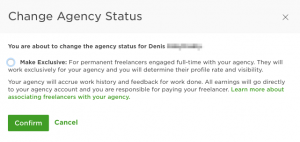 upwork agency change non exclusive