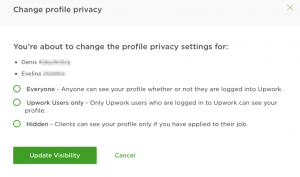 upwork agency change profile privacy