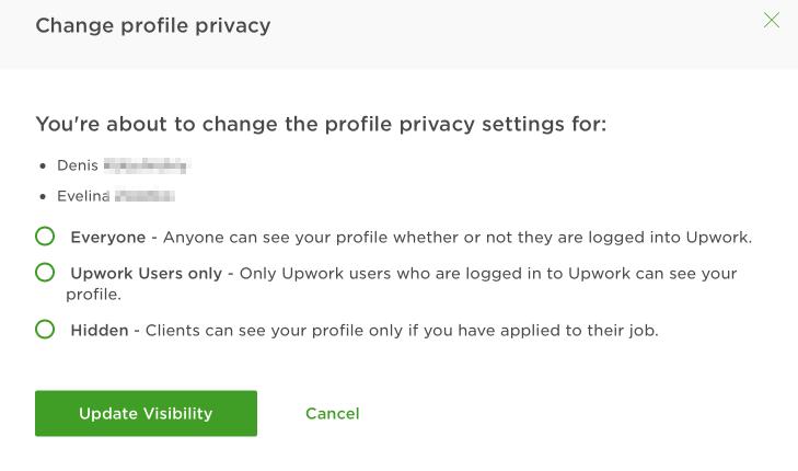 Настройка приватности сотрудника в агентстве на Upwork