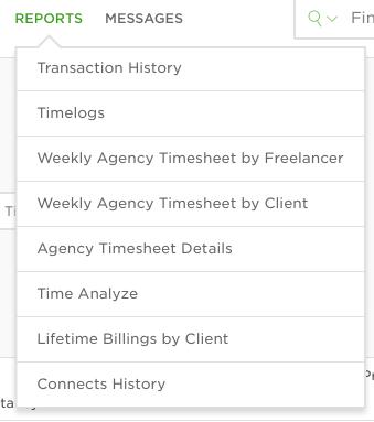 Список отчетов для агентства на Upwork