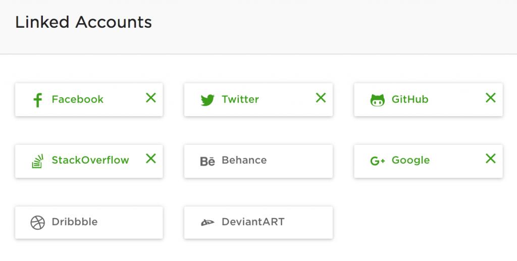 Прикрепленные аккаунты к профилю