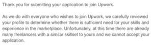 Отказ в подтверждении профиля на Upwork