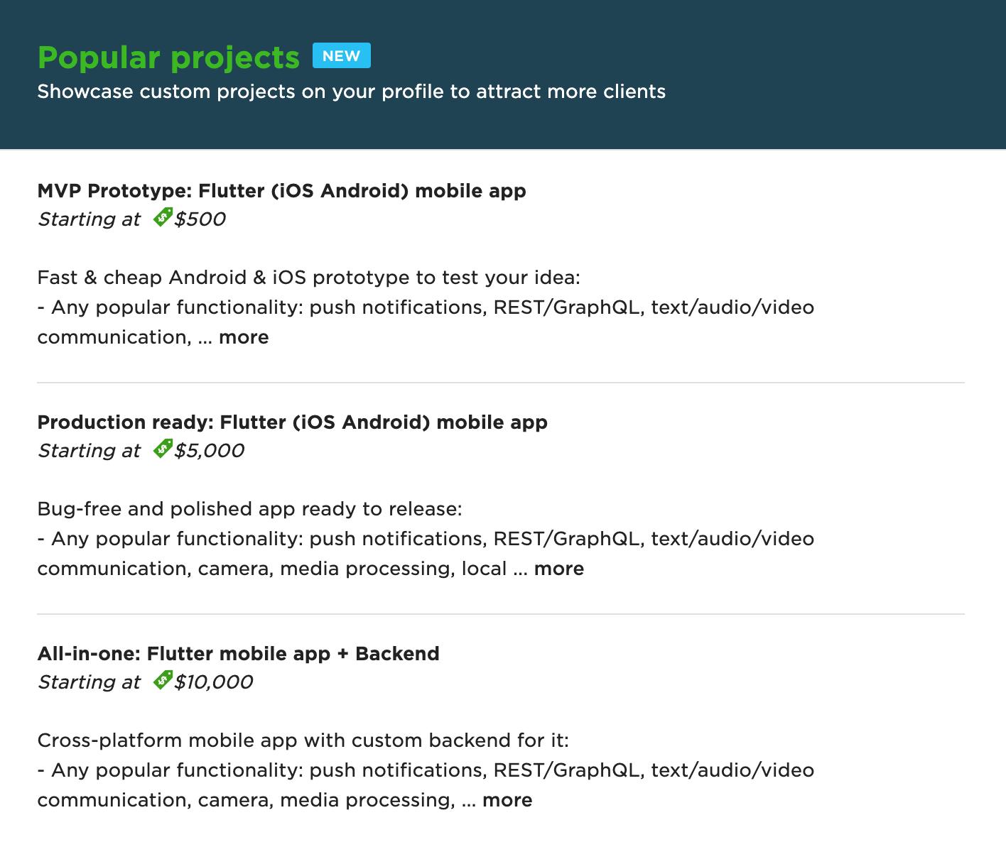 Popular projects на Upwork